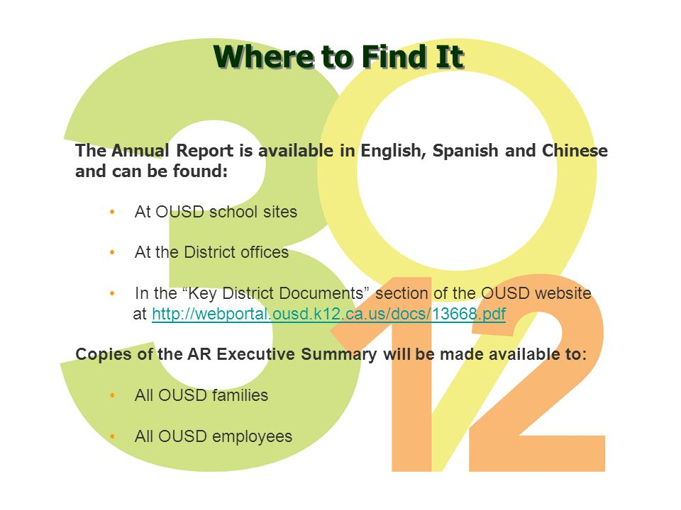 Where to Find It The Annual Report is available in English, Spanish and Chinese and can be found: At OUSD school sites At the District offices In the Key District Documents section of the OUSD website at http://webportal.ousd.k12.ca.us/docs/13668.pdfhttp://webportal.ousd.k12.ca.us/docs/13668.pdf Copies of the AR Executive Summary will be made available to: All OUSD families All OUSD employees