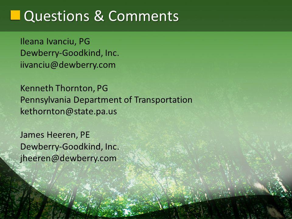 Questions & Comments Ileana Ivanciu, PG Dewberry-Goodkind, Inc.