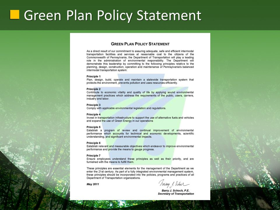 Green Plan Policy Statement