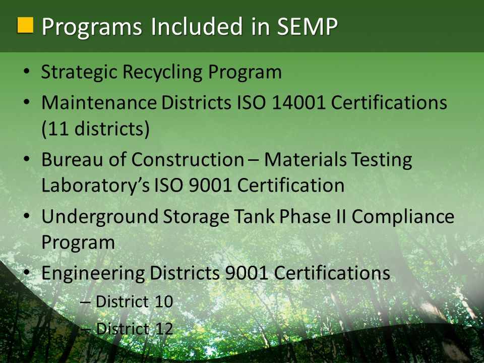 Financial Benefits Materials reuse Environmental Liability avoidance (pollution prevention) Waste Management/minimization Performance enhancements and qualitative improvements Less re-work on maintenance activities Fewer operation stoppages by County Conservation District