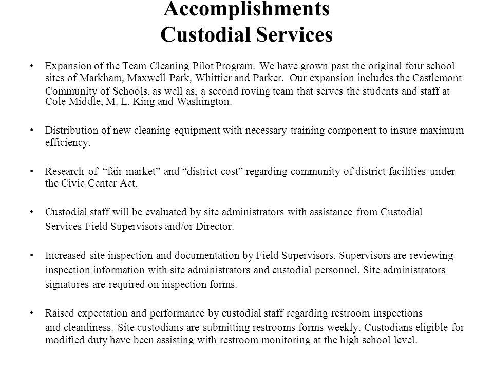 Expansion of the Team Cleaning Pilot Program.