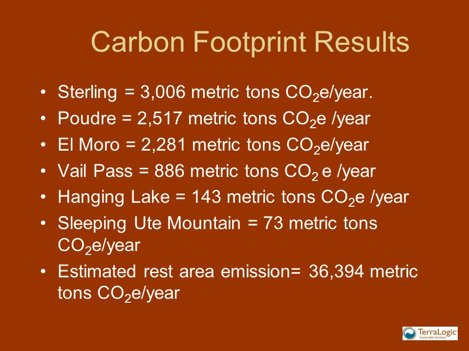 Carbon Footprint Results Sterling = 3,006 metric tons CO 2 e/year.
