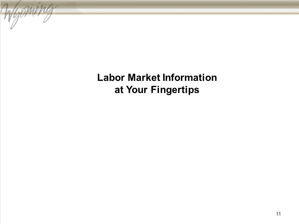 Labor Market Information at Your Fingertips 11