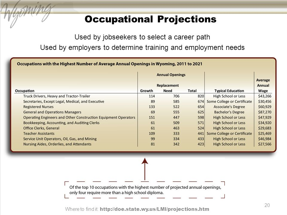 20 Occupational Projections Used by jobseekers to select a career path Used by employers to determine training and employment needs Where to find it: http://doe.state.wy.us/LMI/projections.htm