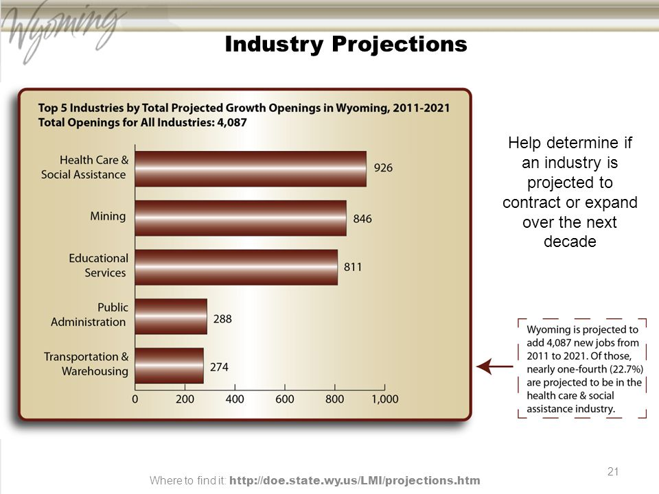 21 Industry Projections Help determine if an industry is projected to contract or expand over the next decade Where to find it: http://doe.state.wy.us/LMI/projections.htm
