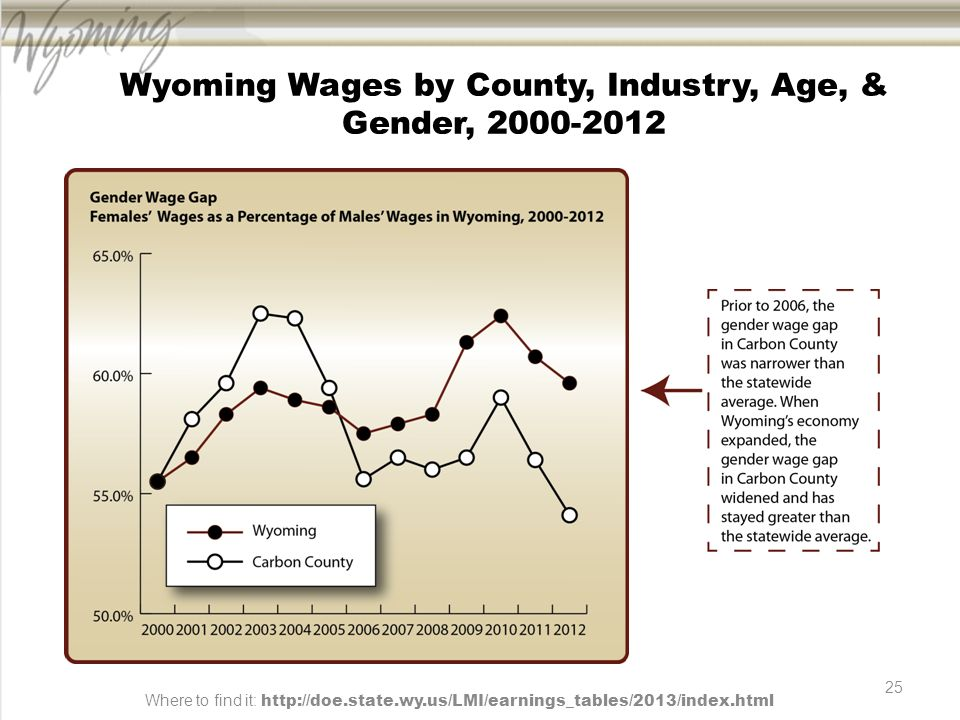 25 Wyoming Wages by County, Industry, Age, & Gender, 2000-2012 Where to find it: http://doe.state.wy.us/LMI/earnings_tables/2013/index.html