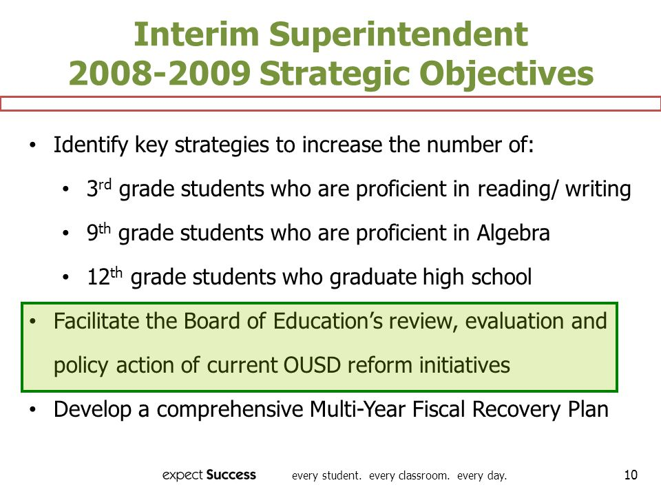 every student. every classroom. every day. 10 Interim Superintendent 2008-2009 Strategic Objectives Identify key strategies to increase the number of: