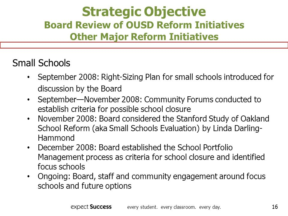 every student. every classroom. every day. 16 Strategic Objective Board Review of OUSD Reform Initiatives Other Major Reform Initiatives Small Schools