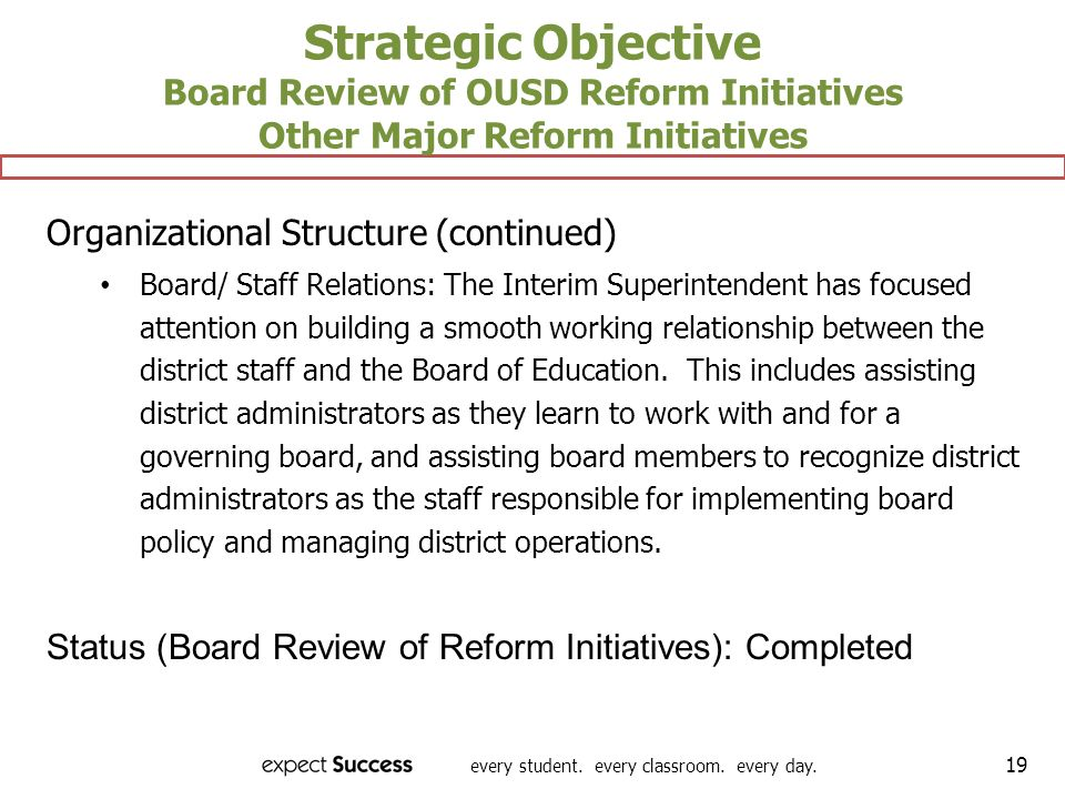 every student. every classroom. every day. 19 Strategic Objective Board Review of OUSD Reform Initiatives Other Major Reform Initiatives Organizationa