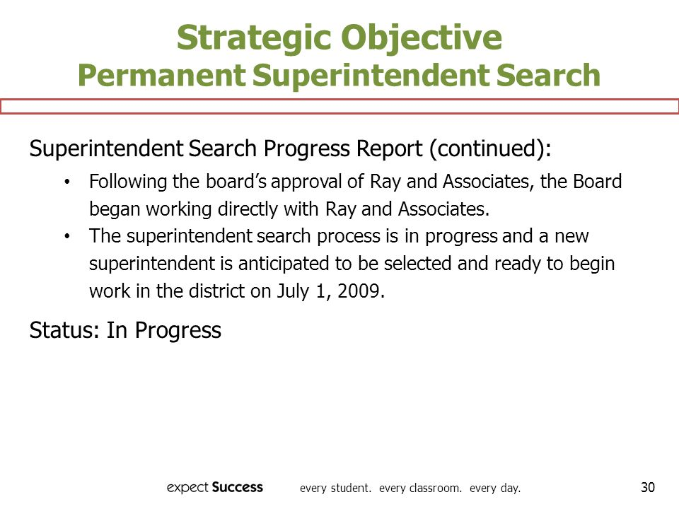 every student. every classroom. every day. 30 Strategic Objective Permanent Superintendent Search Superintendent Search Progress Report (continued): F