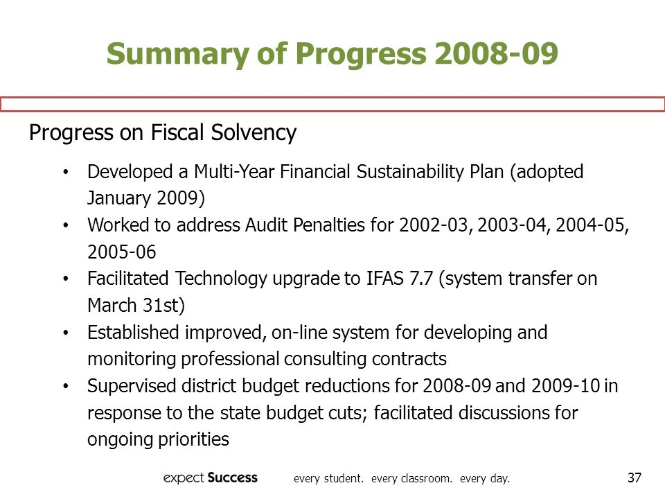 every student. every classroom. every day. 37 Summary of Progress 2008-09 Progress on Fiscal Solvency Developed a Multi-Year Financial Sustainability