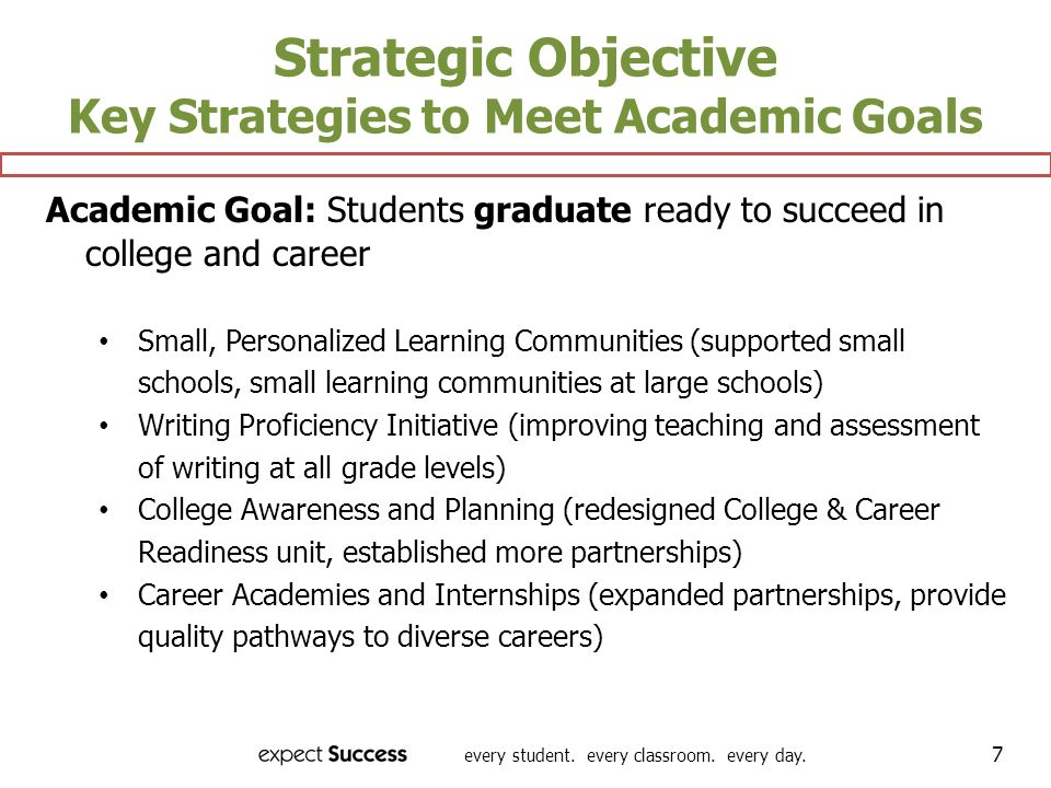 every student. every classroom. every day. 7 Strategic Objective Key Strategies to Meet Academic Goals Academic Goal: Students graduate ready to succe