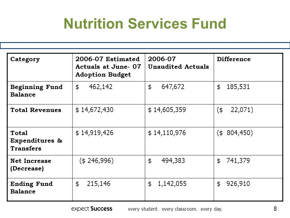 every student. every classroom. every day. 8 Nutrition Services Fund Category2006-07 Estimated Actuals at June- 07 Adoption Budget 2006-07 Unaudited A