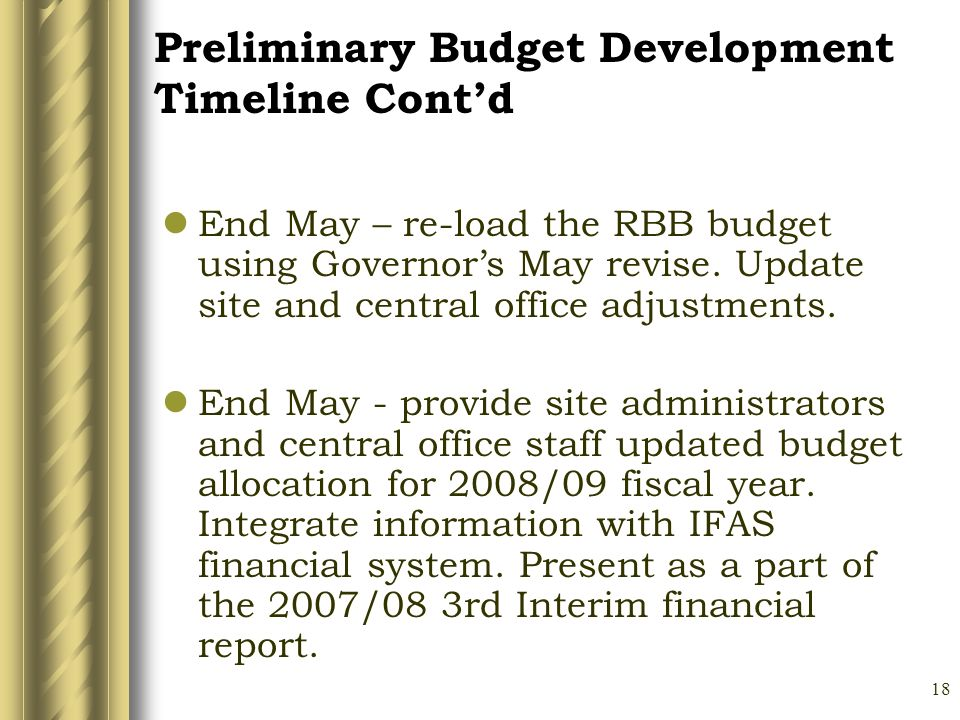 18 End May – re-load the RBB budget using Governors May revise.