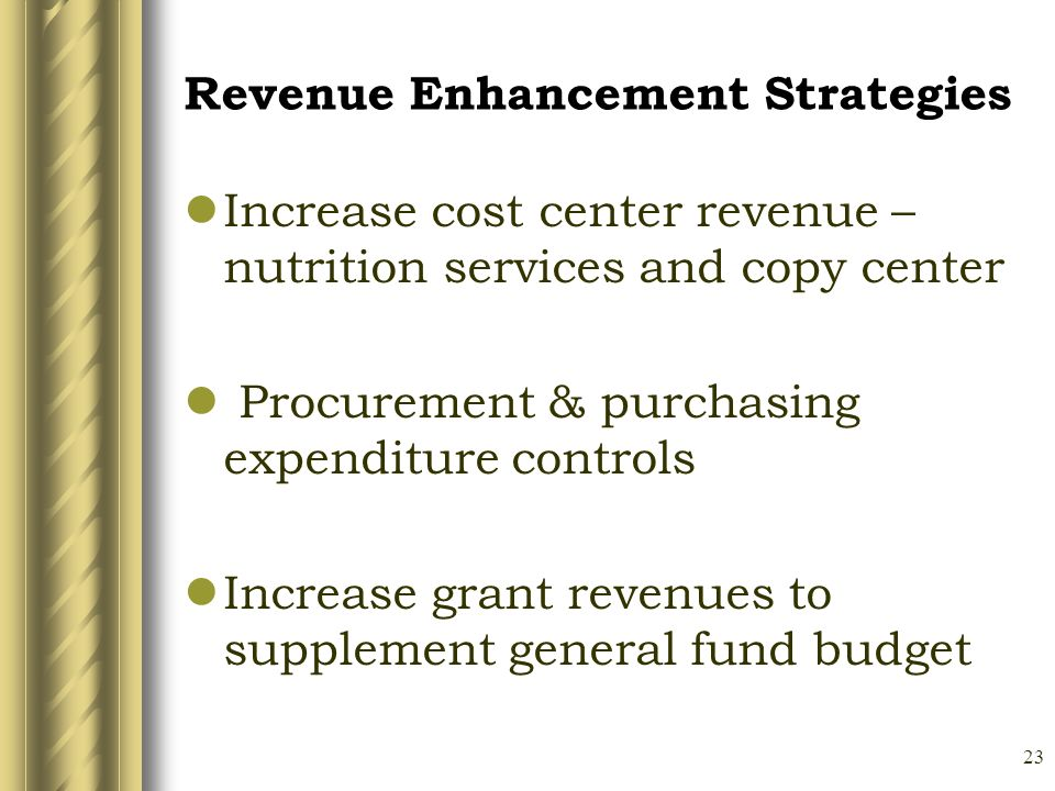23 Revenue Enhancement Strategies Increase cost center revenue – nutrition services and copy center Procurement & purchasing expenditure controls Increase grant revenues to supplement general fund budget