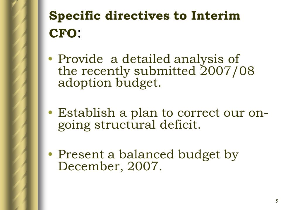 5 Specific directives to Interim CFO : Provide a detailed analysis of the recently submitted 2007/08 adoption budget.