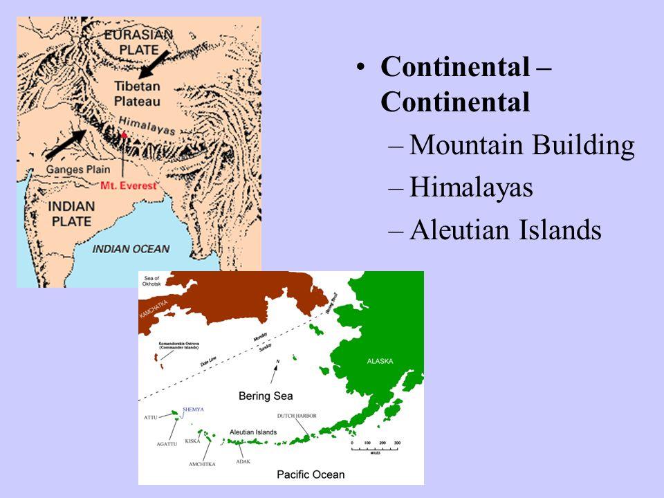 Continental – Continental –Mountain Building –Himalayas –Aleutian Islands