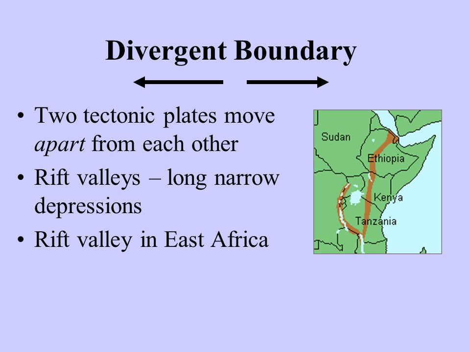 Divergent Boundary Two tectonic plates move apart from each other Rift valleys – long narrow depressions Rift valley in East Africa