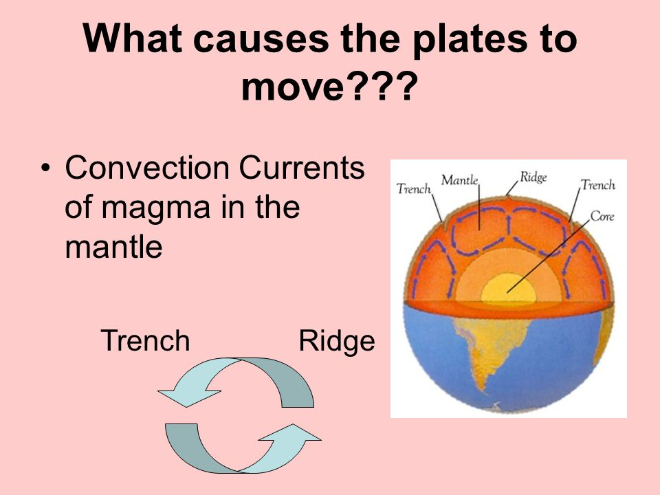 What causes the plates to move??? Convection Currents of magma in the mantle RidgeTrench