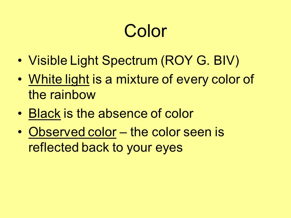 Color Visible Light Spectrum (ROY G.