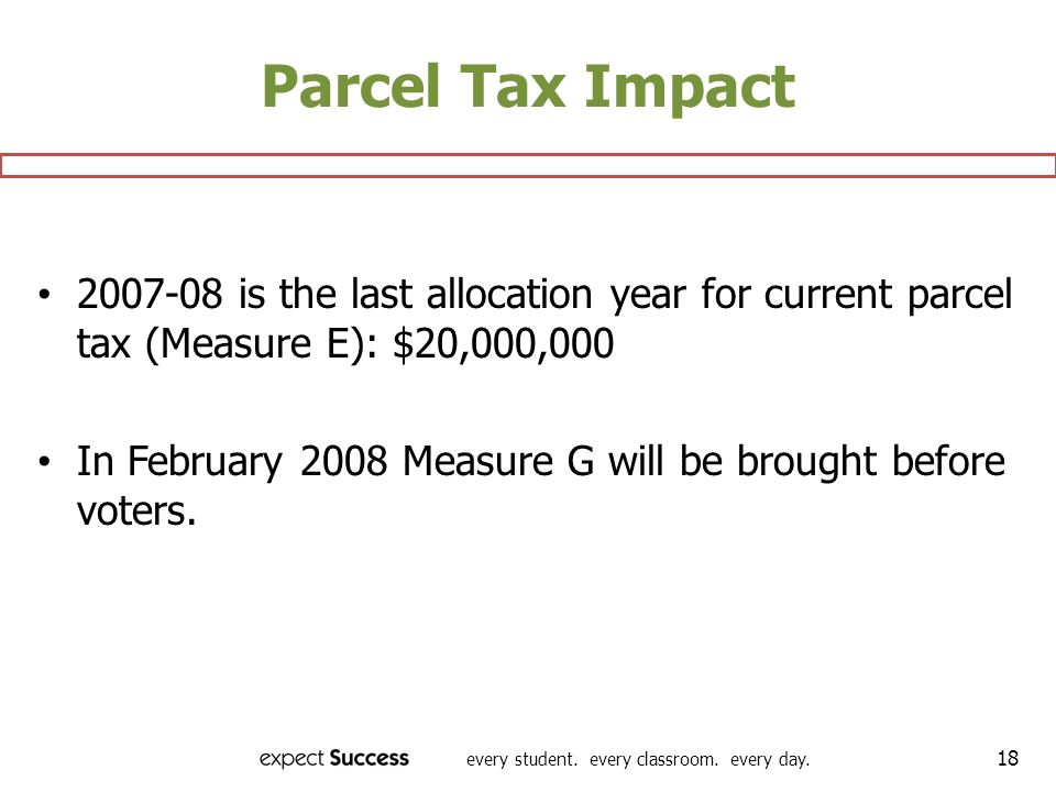 every student. every classroom. every day. 18 Parcel Tax Impact 2007-08 is the last allocation year for current parcel tax (Measure E): $20,000,000 In