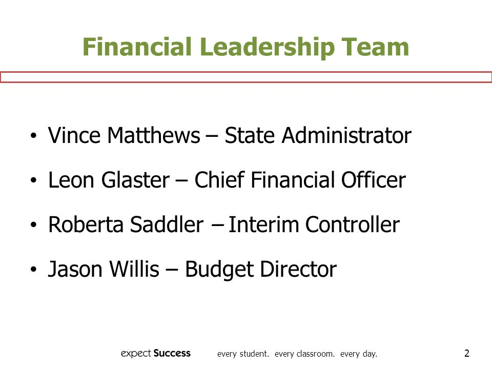 every student. every classroom. every day. 2 Financial Leadership Team Vince Matthews – State Administrator Leon Glaster – Chief Financial Officer Rob