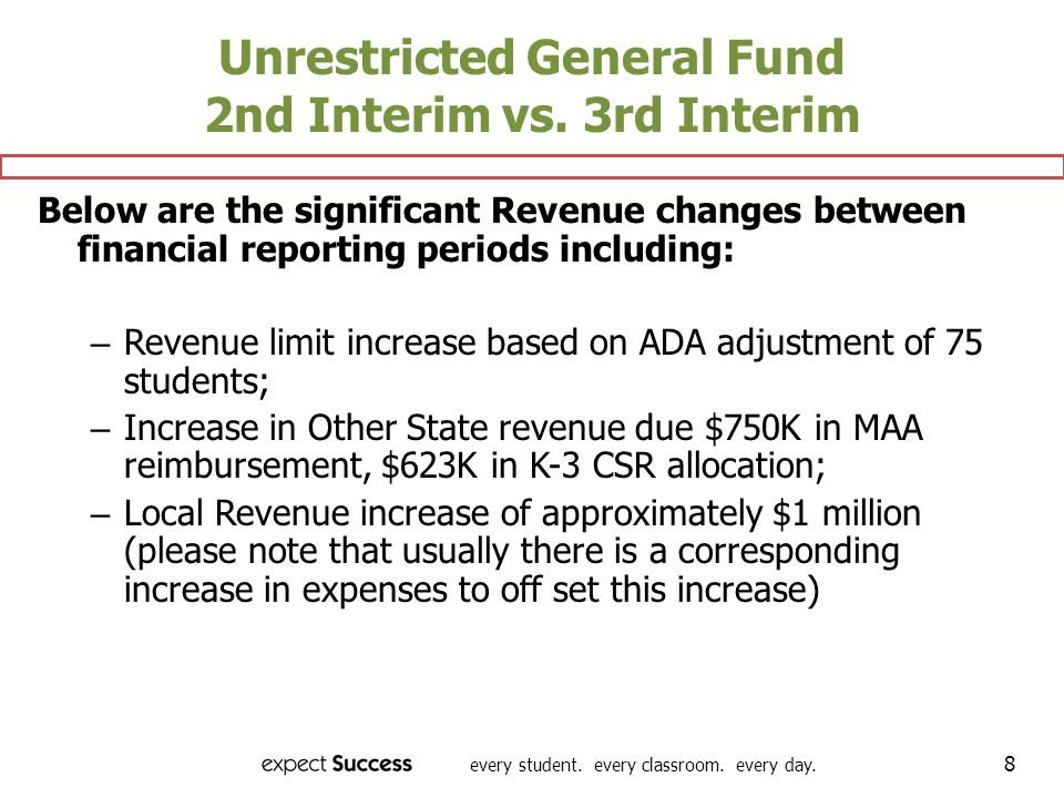 every student. every classroom. every day. 8 Unrestricted General Fund 2nd Interim vs.