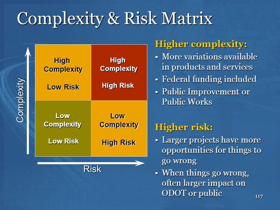 117 Complexity & Risk Matrix Complexity Risk Low Complexity Low Risk High Complexity High Risk High Complexity Low Risk Higher complexity: More variat