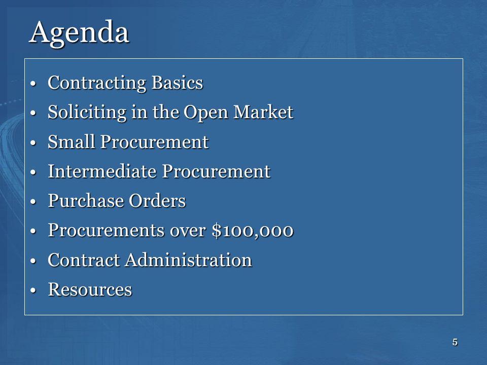 5 Agenda Contracting BasicsContracting Basics Soliciting in the Open MarketSoliciting in the Open Market Small ProcurementSmall Procurement Intermedia