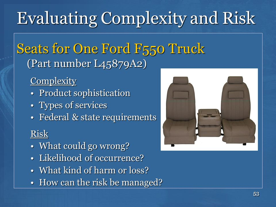53 Evaluating Complexity and Risk Seats for One Ford F550 Truck (Part number L45879A2) Complexity Product sophisticationProduct sophistication Types o