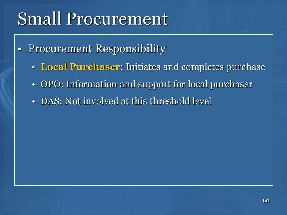60 Small Procurement Procurement ResponsibilityProcurement Responsibility Local Purchaser: Initiates and completes purchaseLocal Purchaser: Initiates