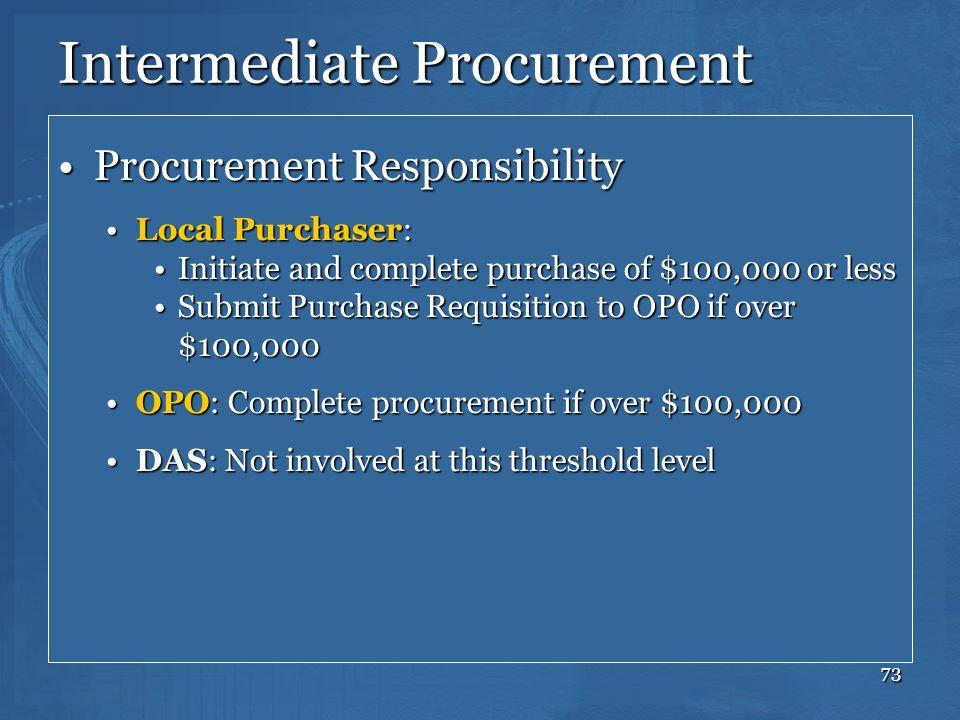 73 Intermediate Procurement Procurement ResponsibilityProcurement Responsibility Local Purchaser:Local Purchaser: Initiate and complete purchase of $1