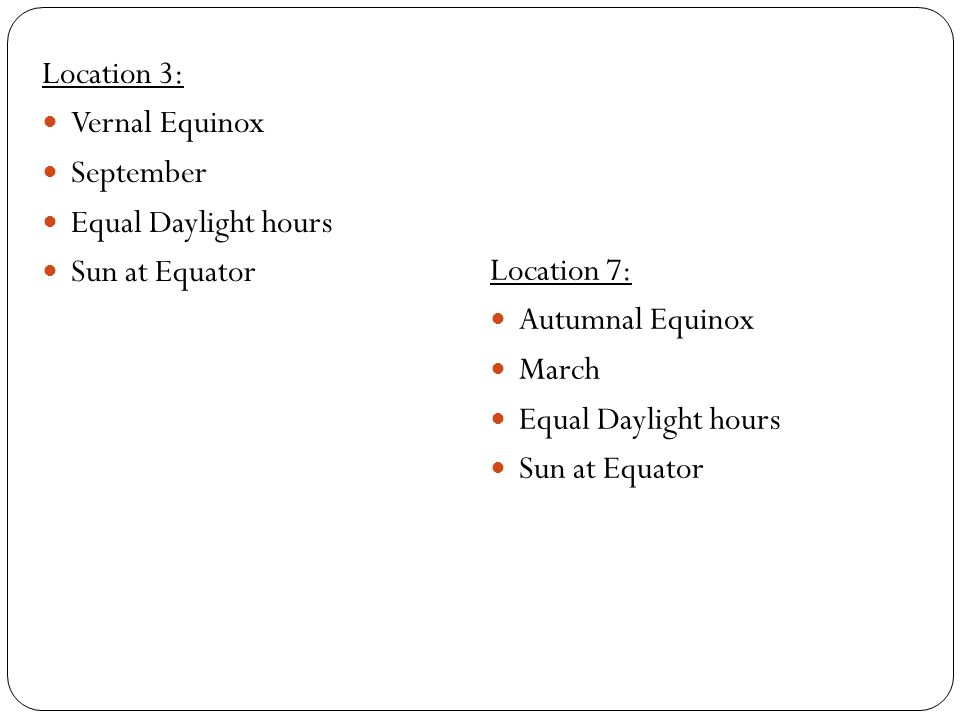 Location 3: Vernal Equinox September Equal Daylight hours Sun at Equator Location 7: Autumnal Equinox March Equal Daylight hours Sun at Equator