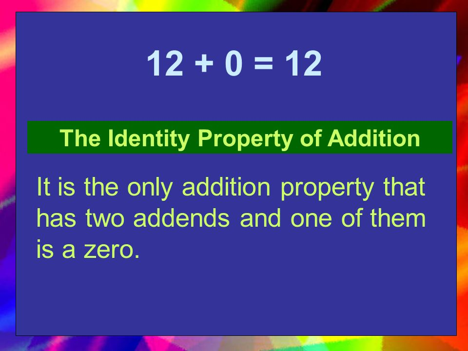 (9 + 8) + 7 = 9 + (8 + 7) The Associative Property of Addition It is the only addition property that has parentheses.