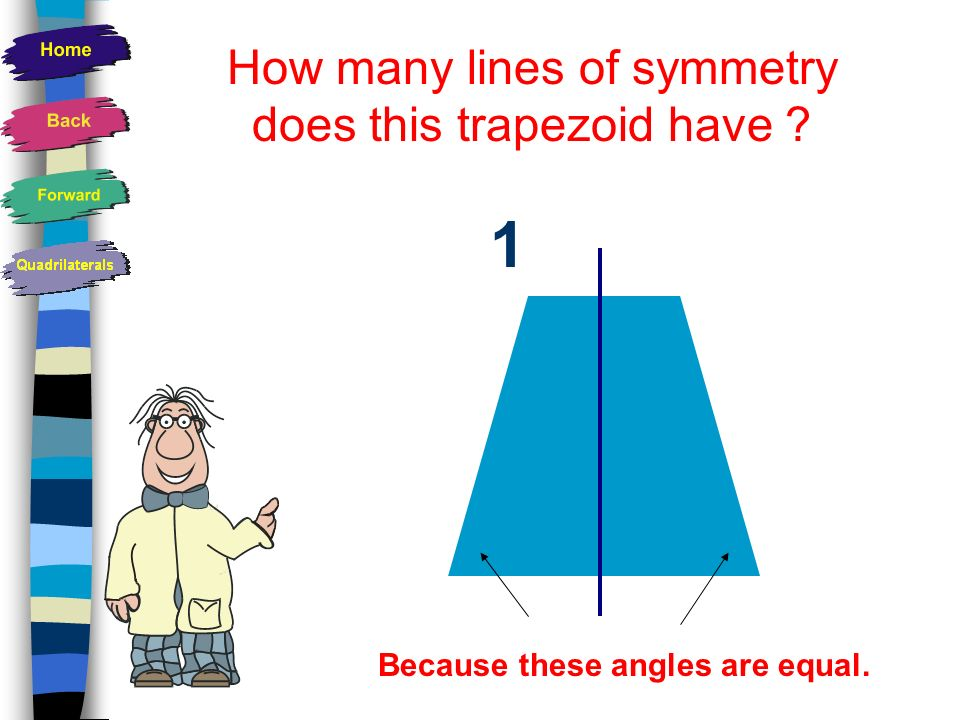How many lines of symmetry does a trapezoid have? None!