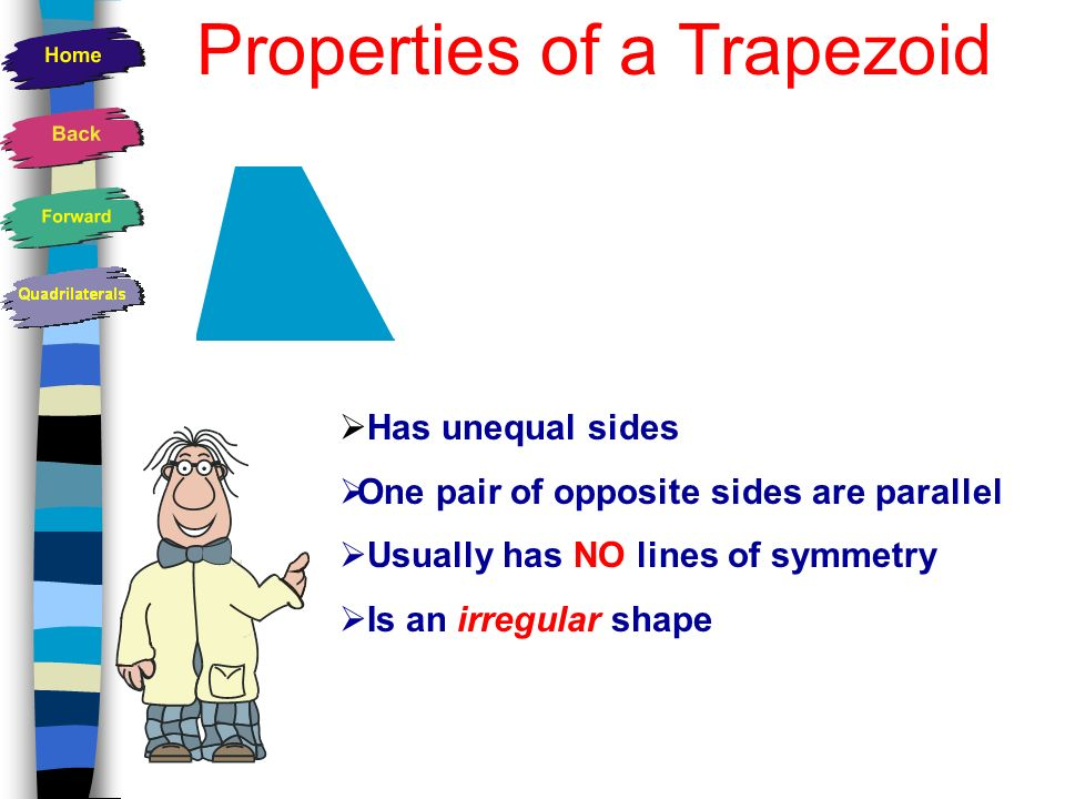How many lines of symmetry does this trapezoid have ? 1 Because these angles are equal.
