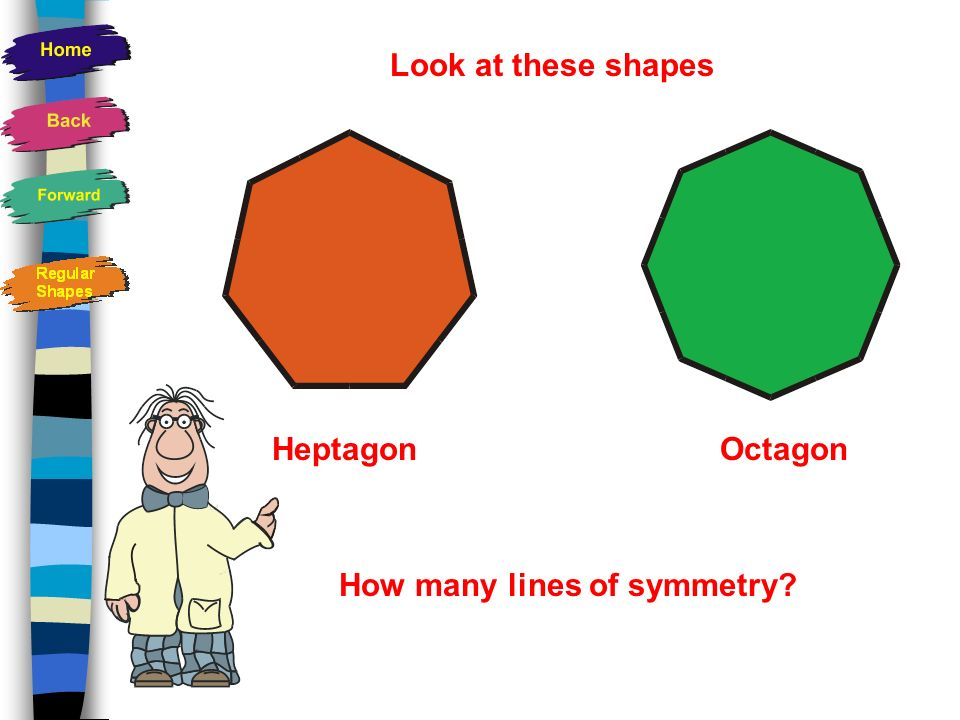 Regular shapes All the sides are the same length All the angles are equal Have the same number of lines of symmetry as the number of sides