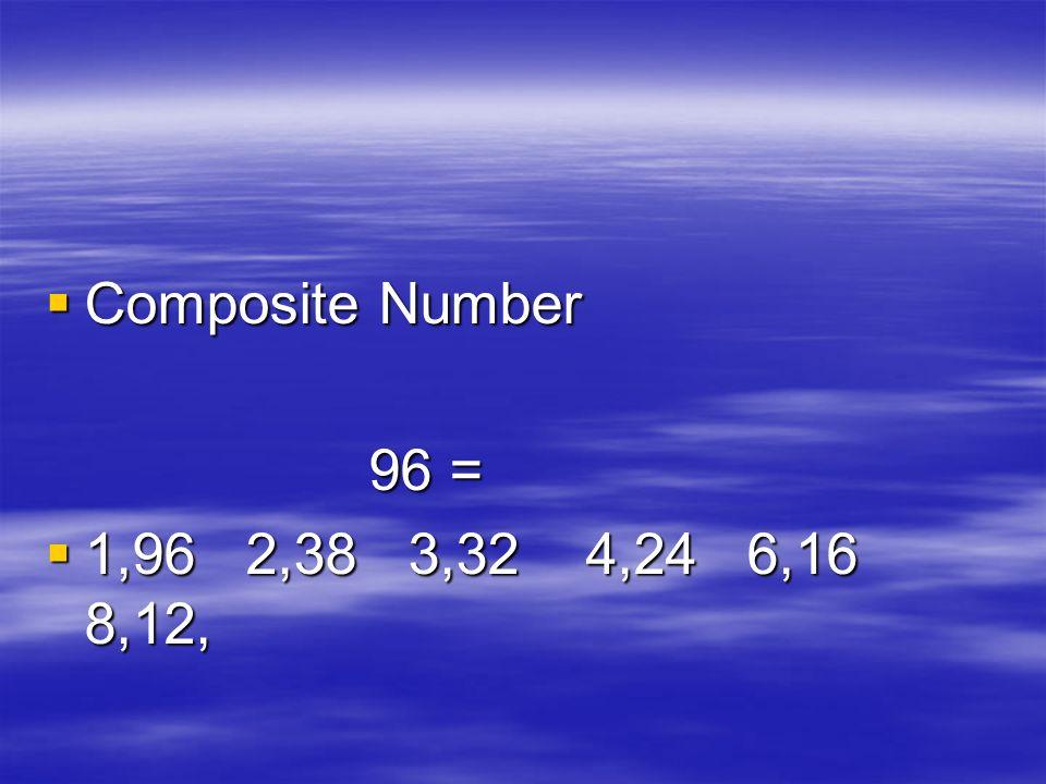 Composite Number Composite Number 96 = 96 = 1,96 2,38 3,32 4,24 6,16 8,12, 1,96 2,38 3,32 4,24 6,16 8,12,
