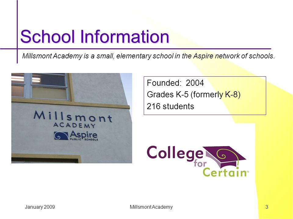 January 2009 Millsmont Academy 3 School Information Founded: 2004 Grades K-5 (formerly K-8) 216 students Millsmont Academy is a small, elementary school in the Aspire network of schools.