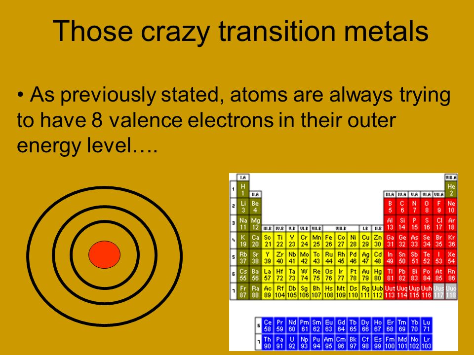 Those crazy transition metals As previously stated, atoms are always trying to have 8 valence electrons in their outer energy level….