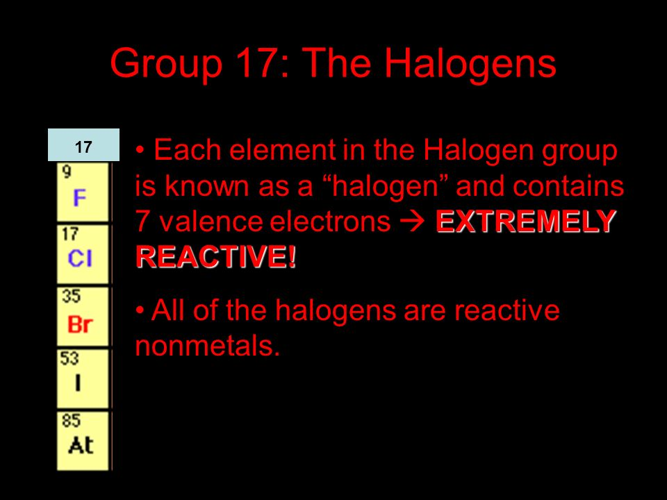 Group 17: The Halogens EXTREMELY REACTIVE! Each element in the Halogen group is known as a halogen and contains 7 valence electrons EXTREMELY REACTIVE