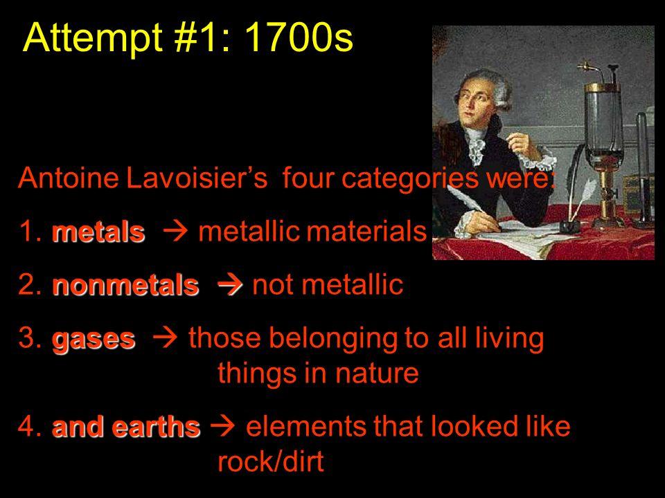 Attempt #1: 1700s Antoine Lavoisiers four categories were: metals 1. metals metallic materials nonmetals 2. nonmetals not metallic gases 3. gases thos