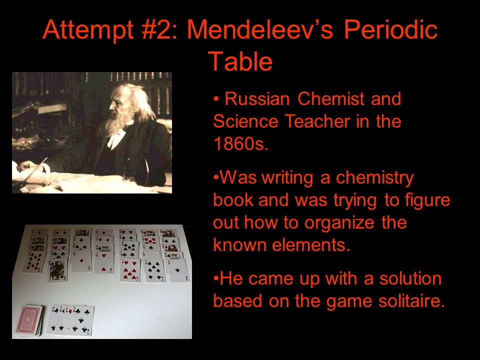 Attempt #2: Mendeleevs Periodic Table Russian Chemist and Science Teacher in the 1860s. Was writing a chemistry book and was trying to figure out how