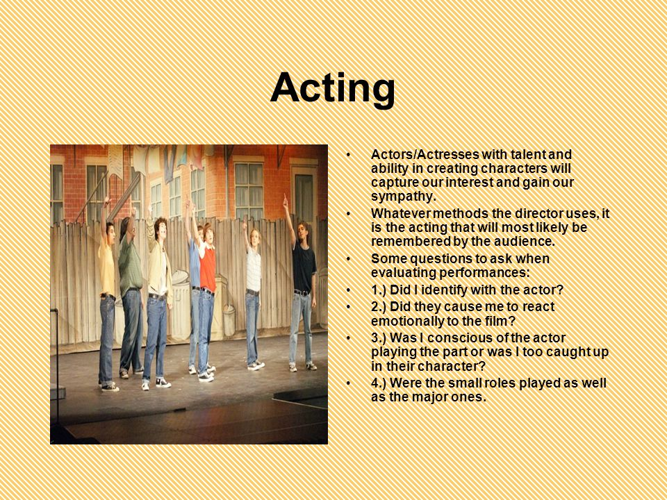 The Script The script describes the scenes, specifies who and what the characters are, how they appear and what they do and say. Questions youll want