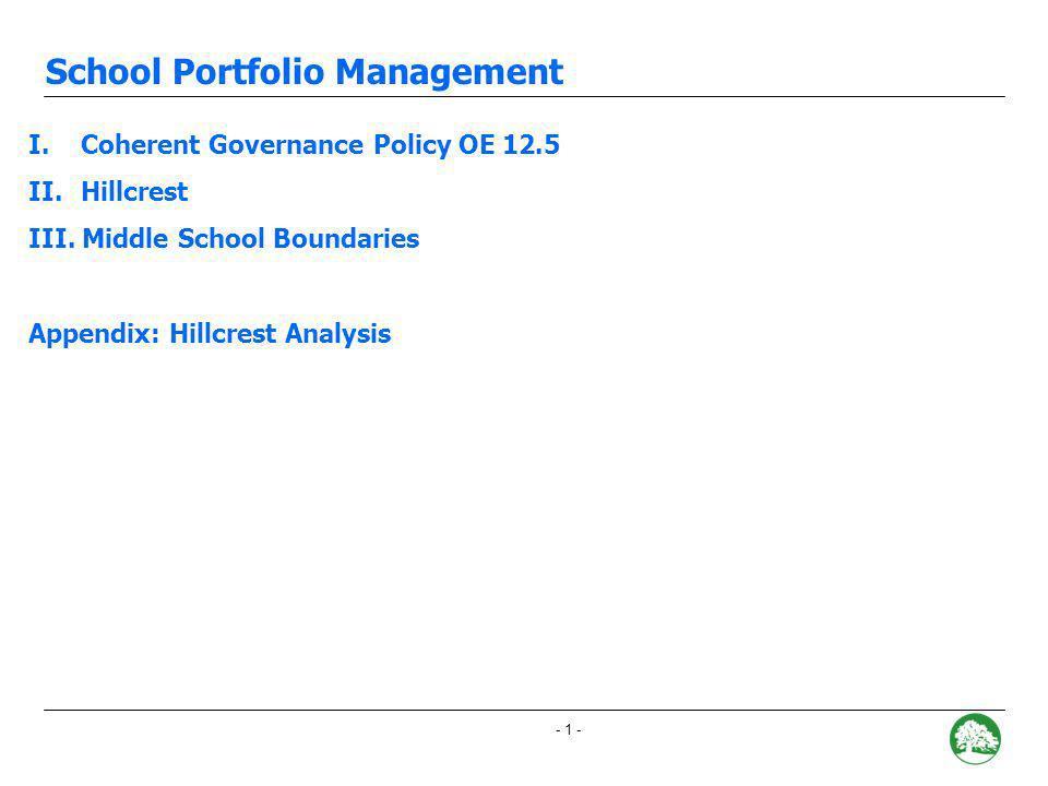 - 0 - School Portfolio Management Attendance Boundary Adjustment Recommendations December 12, 2007