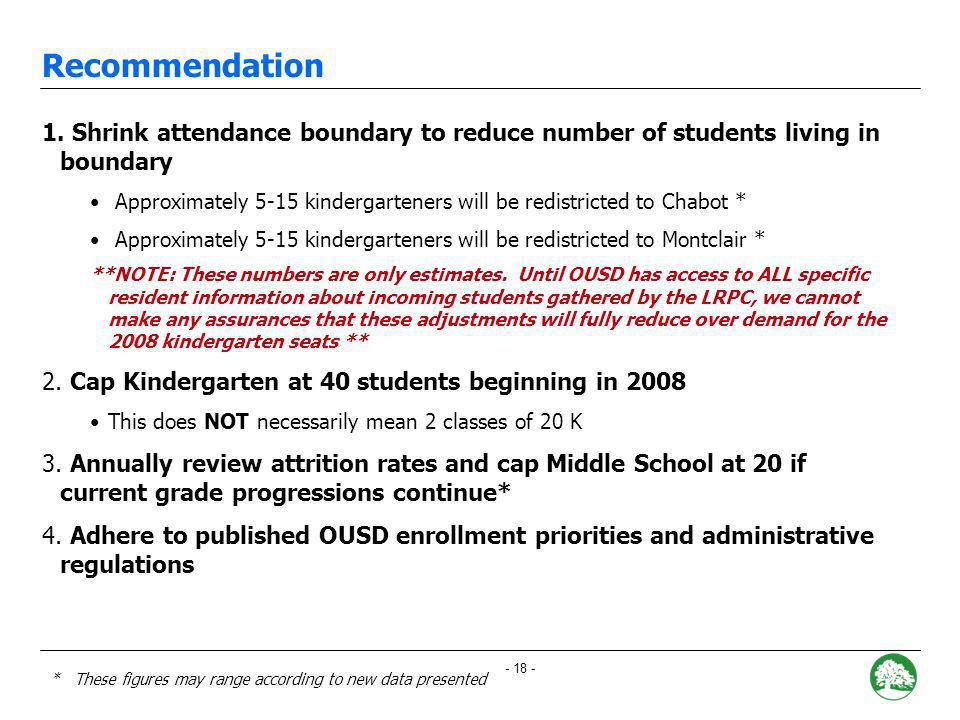 - 17 - Scenarios Considered OUSD SCENARIO 3: Reduce cohort of neighborhood students by shrinking boundary Cap Kindergarten at 40 Annually review attrition rates and cap Middle School at 20 if current grade progressions continue* Challenges: Enrollment will still be over the facilities capacity of 310 for the next three years Advantages: As requested by the LRPC, model utilizes a more realistic attrition rate for projecting student population.