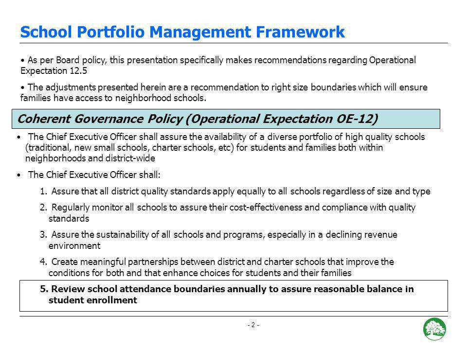 - 1 - I.Coherent Governance Policy OE 12.5 II.Hillcrest III.