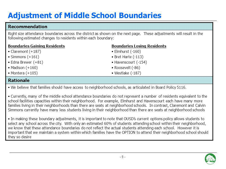 - 4 - Hillcrest: Recommended Boundary Adjustment Portion re-districted to CHABOT recommended to be drawn along: Broadway Terrace Estimated number of Kindergarten students impacted: 5-15 Portion re-districted to MONTCLAIR recommended to be drawn along: Hilltop, Harbord, Sheridan Estimated number of Kindergarten students impacted: 5- 15