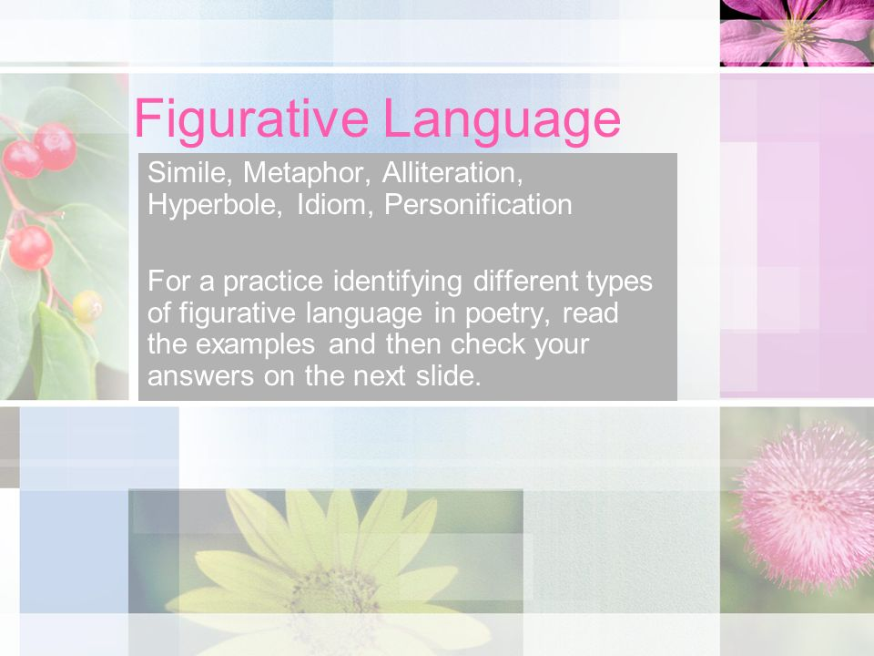 Figurative Language Simile, Metaphor, Alliteration, Hyperbole, Idiom, Personification For a practice identifying different types of figurative language in poetry, read the examples and then check your answers on the next slide.