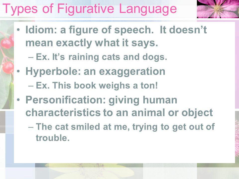 Types of Figurative Language Idiom: a figure of speech.
